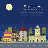 Night City Vector Illustration Web Banner. Vector. Night city vector illustration web banner. City street at day and night. Urban city landscape. Building Stock Image