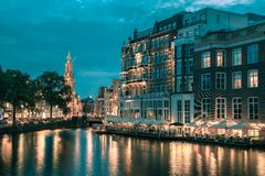 Night city view of Amsterdam canal,  and bridge Royalty Free Stock Photography