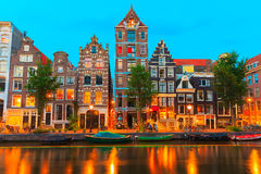 Night city view of Amsterdam canal Herengracht Royalty Free Stock Images