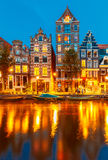 Night city view of Amsterdam canal Herengracht stock images