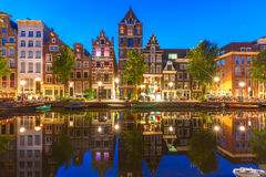 Night city view of Amsterdam canal Herengracht Stock Photography