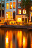 Night city view of Amsterdam canal Royalty Free Stock Photos