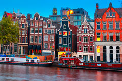 Night city view of Amsterdam canal stock photography