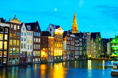 Night city view of Amsterdam, the Netherlands Stock Images