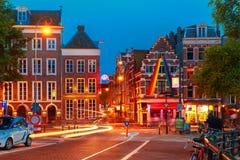 Night city view of Amsterdam street Royalty Free Stock Photo