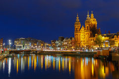 Night city view of Basilica of Saint Nicholas Stock Photography