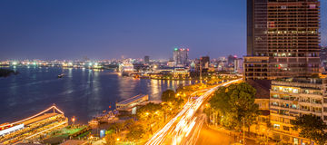 Night city view from Ben Nghe canal in Hochiminh city Stock Images