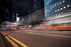 Night city view with blurred car lights. On the road. Hong Kong center Stock Photo