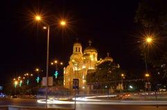 Varna city night street view Royalty Free Stock Image