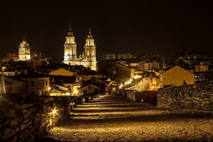 Night city view. Over a Roman wall. Lugo, Spain Stock Photos