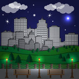Night city. View the city at night from the park. Vector illustration Royalty Free Stock Photo