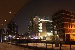 Night City view of Rotterdam , Netherland. stock photography