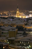 Night city view with St. Michael's Cathedral in Cluj. Romania stock photography