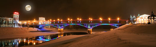 The night city of Vitebsk stock photo