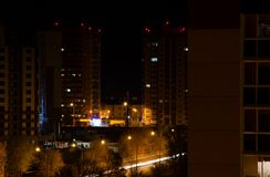 Night city Voronezh. Landscape of the night city - `When the lights of Voronezh are lit stock image