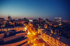 Night city Voronezh, view from roof top. Toned Royalty Free Stock Photo