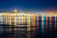 Night city. Waterfront of St. Petersburg, Russia. royalty free stock image