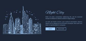 Night City Web Page and Text Vector Illustration Royalty Free Stock Photo