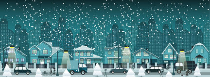 Night city in winter stock illustration