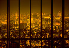 Night city in the yellow tone Stock Photography