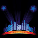 Night cityscape. Lights with stars over city at night sky Royalty Free Stock Photography