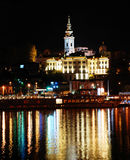 Night cityscape. Night illuminated Belgrade from river with light reflection Stock Photos