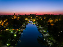 Night cityscape aerial view, Timisoara Royalty Free Stock Images