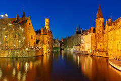Night Cityscape with Belfort from Rozenhoedkaai in Bruges Stock Images