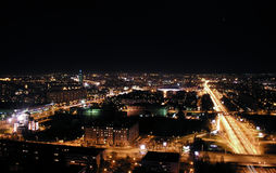 Night cityscape, Belgrade. Night scape of Belgrade from the West Gate Stock Image