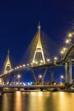 Night cityscape of Bhumibol Bridge, Chao Phraya River, Bangkok, Thailand Royalty Free Stock Images