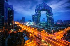 Night cityscape with bilding and road in Beijing city Stock Photography