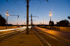 Night cityscape in Budapest, traffic, light, long exposure Royalty Free Stock Photo