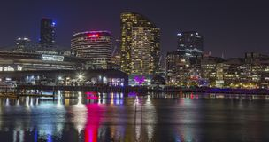 Night Cityscape of Buildings Royalty Free Stock Photography
