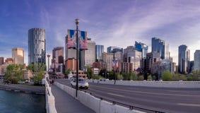 Night cityscape of Calgary, Canada Stock Photo