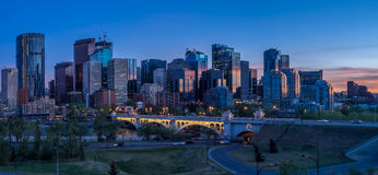 Night cityscape of Calgary, Canada. Buildings in Calgary Canada at night stock photo
