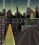 Night Cityscape Cartoon Stock Images