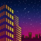 Night cityscape on the colorful sky Stock Images