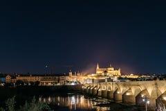 Night cityscape of Cordoba stock photography
