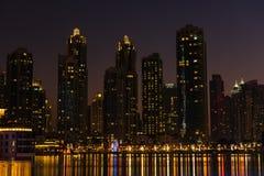 Night cityscape of Dubai city, United Arab Emirates Stock Image