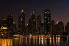 Night cityscape of Dubai city, United Arab Emirates Royalty Free Stock Photos