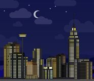 Night cityscape. Flat skyscraper modern buildings city office center, apartment house hotel residential block exterior stock illustration