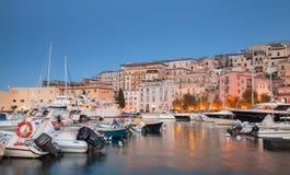 Night cityscape of Gaeta town, Italy Stock Image
