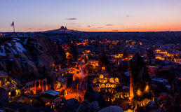 Night cityscape of Goreme,Turkey. A night cityscape of Goreme the main tourist town of Cappadocia area,Turkey.nnshot during winter of febuary Stock Photo