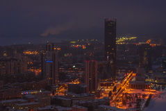 Night cityscape from a height. Cityscape at night, seen from the aerial view Stock Images
