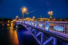 Night cityscape, Hermitage, river and bridge in Saint-Petersburg Royalty Free Stock Images
