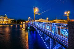 Night cityscape, Hermitage, river and bridge in Saint-Petersburg Stock Images