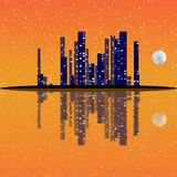 Night cityscape illustration with buildings on island. Full moon sky. Royalty Free Stock Photography