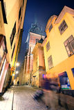 Night cityscape with the image of a center of Stockholm, Sweden Stock Photography