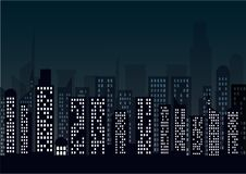 Free Night Cityscape In Flat Style. Night City Skyline Abstract Background. Stock Photo - 114901460