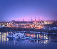 Night cityscape. Industrial landscape in Ukraine at twilight Stock Images